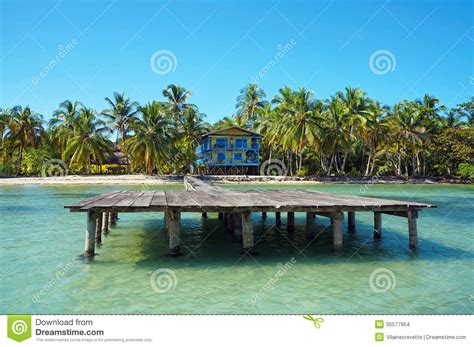 Stilt Home Plans dock with beach house and coconut trees stock images