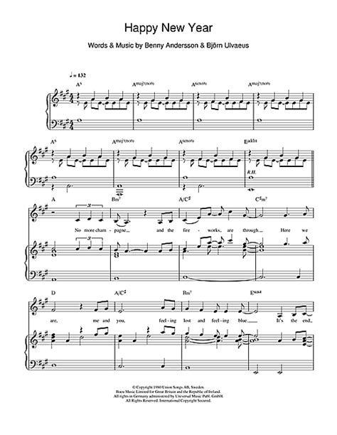 happy new year sheet happy new year sheet by abba piano vocal guitar