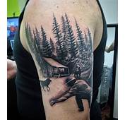 Flying Birds And Moon With Forest Tree Tattoo On Shoulder