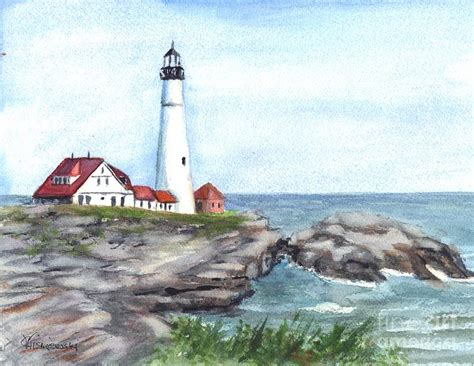 boat canvas portland maine portland head lighthouse maine usa painting by carol