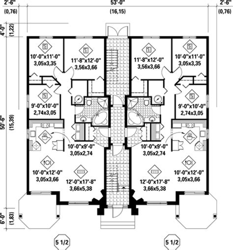 multi family home floor plans multi family plan 52764 at familyhomeplans com