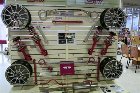 dealers in household accessories sti parts display at subaru dealer in japan misc