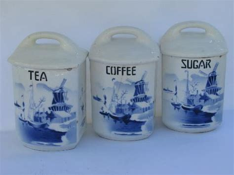 Blue And White Kitchen Canisters by Shabby Blue Amp White China Antique Kitchen Canister Coffee