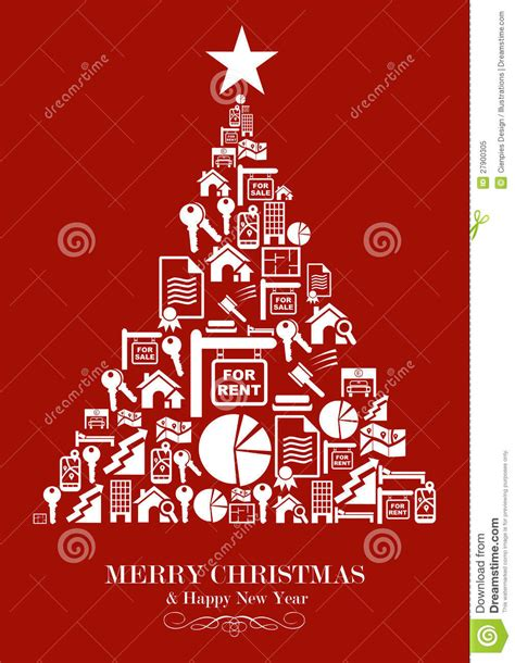real estate industry christmas tree stock vector image