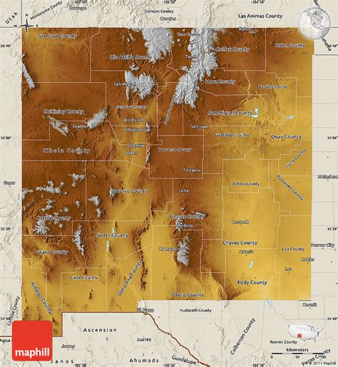 physical map of new mexico physical map of new mexico shaded relief outside