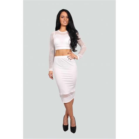 miley white fishnet crop top and midi skirt set parisia
