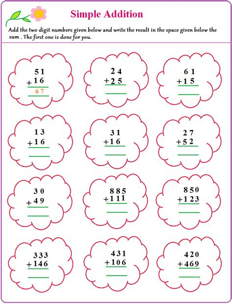Easy Addition Worksheets by Worksheet On Simple Addition