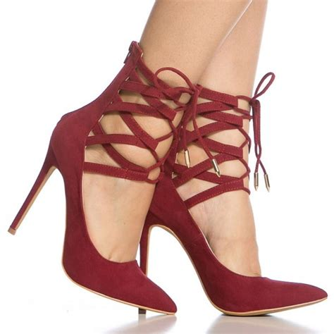 Strappy Pointy Pumps strappy heels pointy toe lace up suede pumps stiletto