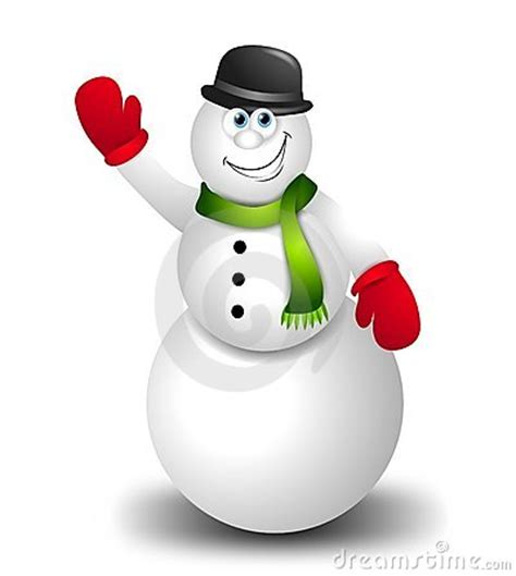cartoon snowman waving stock images image 6645754