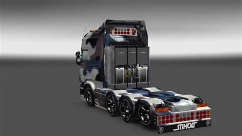 simple snow camouflage skin   scania rjl ets  euro truck simulator  mods
