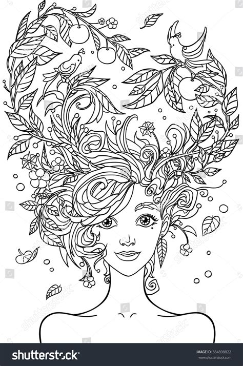 Hairstyle Photos Only Printer by Print Coloring Bookportrait Beautiful Stock