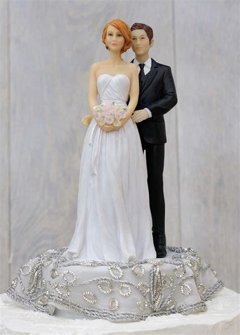 and groom cake toppers embroidered silver and groom wedding cake topper