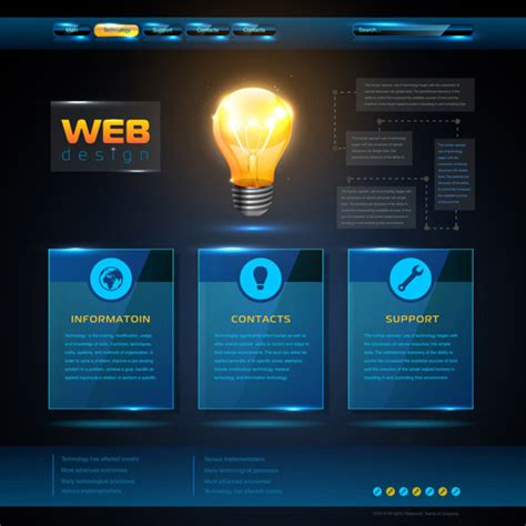 Blue Web Infographics Template Design Vector 05 Over Millions Vectors Stock Photos Hd 3d Web Design Templates Free