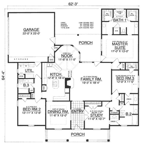 1 floor house plans country style house plan 4 beds 3 baths 2348 sq ft plan