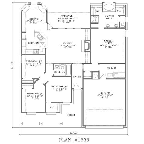 simple single floor house plans 4 bedroom