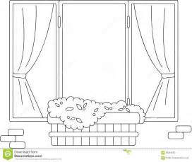 window with flower pots and curtains coloring book stock