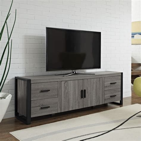 70 inch urban blend ash grey wood tv stand