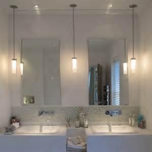 Bathroom mirror with pendant lights