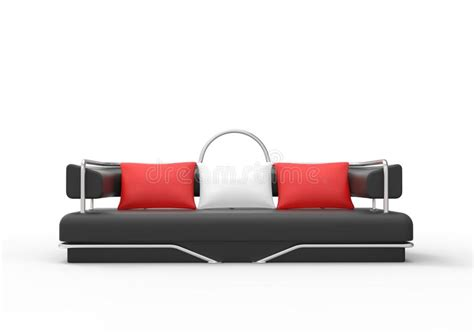 black red white sofa black sofa with red and white pillows stock illustration