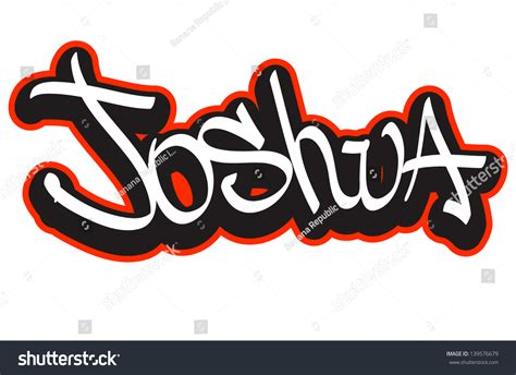 doodle name joshua joshua graffiti font style name hiphop stock vector