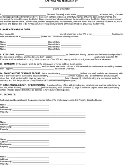 Download Arkansas Last Will And Testament Form For Free Formtemplate Arkansas Will Template