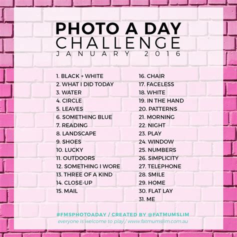picture challenges for photo a day challenge january 2016 slim