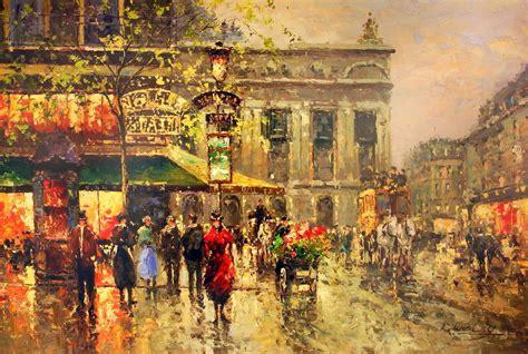vintage parisian street scene art print buy at europosters