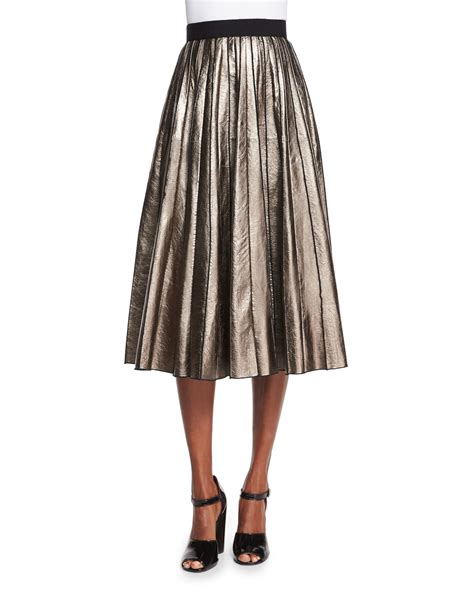 marc pleated metallic leather skirt in metallic lyst