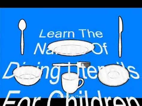 learn the names of utensils for children dining