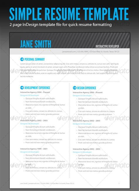 Indesign Template Resume by A Resume In Indesign