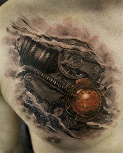 biomechanical tattoo on dark skin black ink biomechanical style chest tattoo of heart