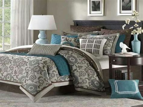 teal brown and white bedding home decor ideas