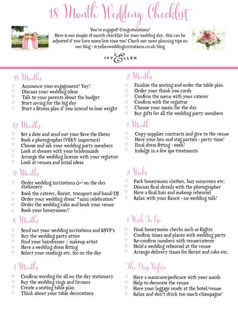 Wedding Checklist by 1000 Ideas About Wedding Checklists On
