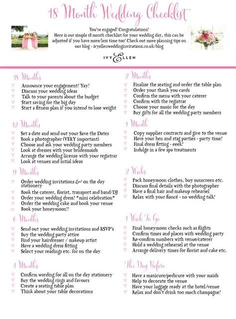 Wedding Checklist Uk by S 18 Month Wedding Checklist Great To Print