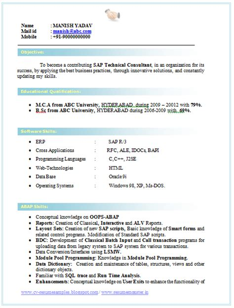 Resume Format For Bsc Computer Science Freshers Free 10000 Cv And Resume Sles With Free Cv Format For A Bsc