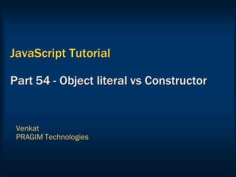 javascript literal pattern sql server net and c video tutorial object literal vs