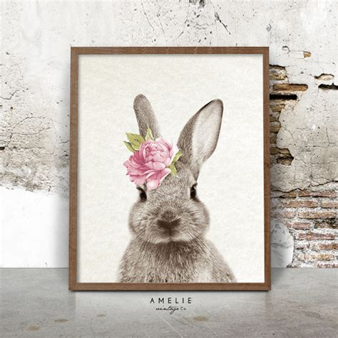 Nursery Wall Art Rabbit Print Woodlands Decor Rabbit Decorations Nursery