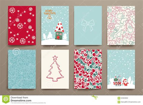 Merry Christmas Set Of Card Templates Stock Vector Image 63363692 Merry Card Template