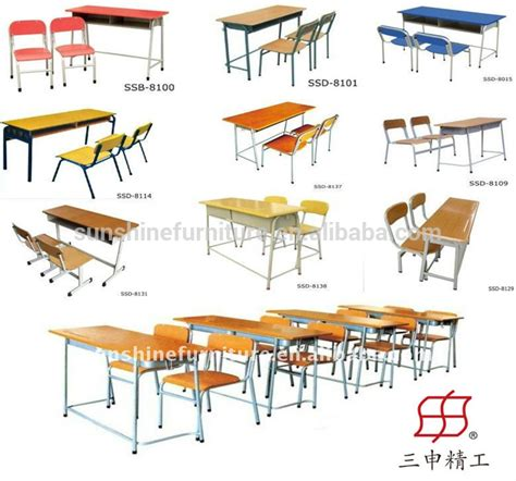 Double Bench School Desk And Chair Classroom Furniture Used Student Desks