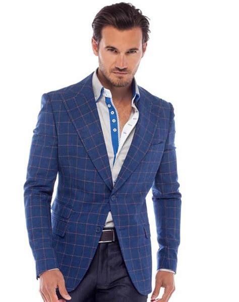 Rok Trendy Sp 647 Navy blue check blazer mens hazard golf clothing