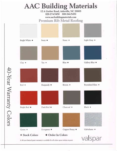 metal roofing colors fabral metal roof color chart