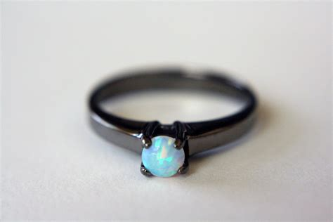 Black Ring by Opal Solitaire Ring In Black Rhodium Opal Engagement Ring