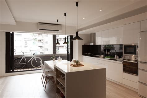 open kitchen sparkling urban apartment design