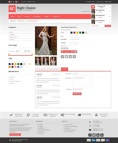 html5 product template right choice html5 css3 e commerce template by