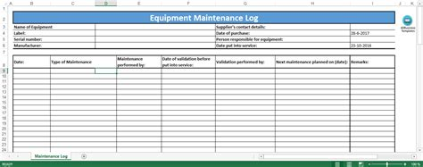 machine maintenance log template free equipment maintenance log excel template templates