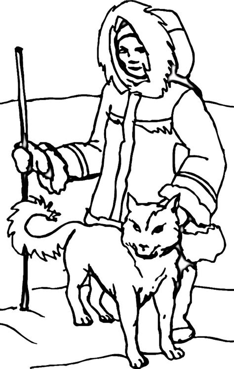 free coloring pages of inuit sled dogs eskimos pictures cliparts co