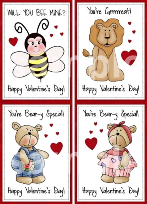 printable animal valentines day cards printable kids valentines printable childrens valentines