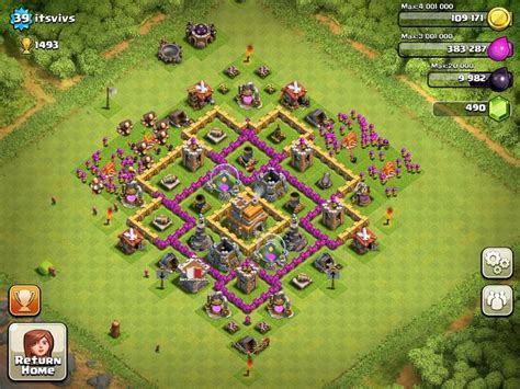 layout level 7 town hall top clash of clans defense strategy town hall level 7