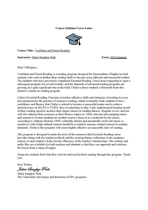 Course Cover Letter Eesl 614 By Julien Course Design Confident And Fluent Reading