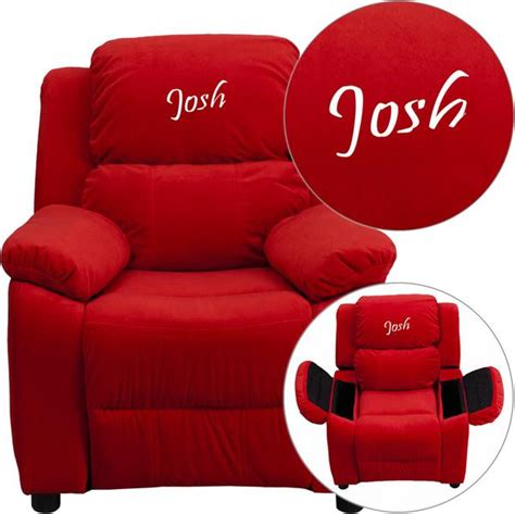 kids recliners flash furniture bt 7985 kid mic red emb gg personalized